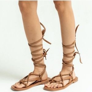 FREE PEOPLE | Brown Positano Lace Up Sandals | 38